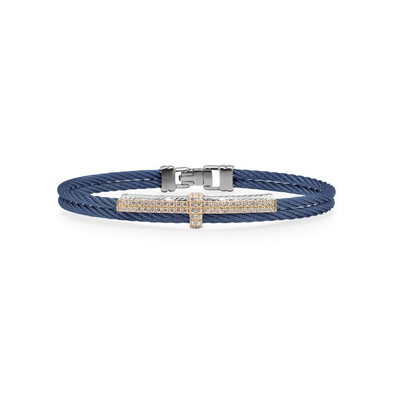 ALOR Blueberry Cable Petite Opulence Bracelet with 18kt Rose Gold & Diamonds