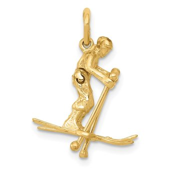 14K 3D Moveable Snow Skier Charm