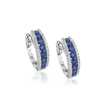 Diamond-Lined Sapphire Fashion Hoops
