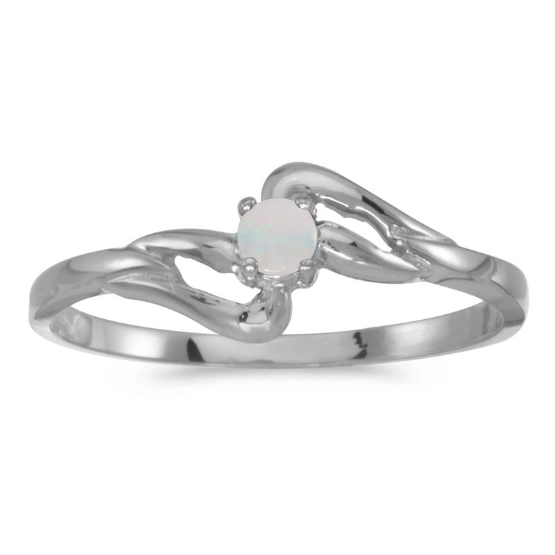 Color Merchants 10k White Gold Round Opal Ring