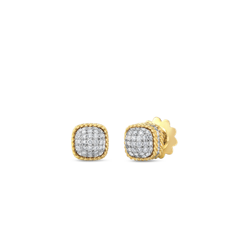 18Kt Gold Dome Earrings With Diamonds