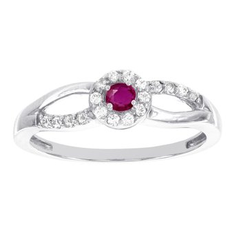 10k White Gold Ruby and 1/5ct TDW Diamond Baby Halo Promise Ring