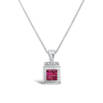 18K White Gold Diamond Natural Ruby Pendant Necklace