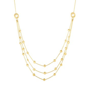 14K Gold Multi-Strand Bead and Love Knot Necklace