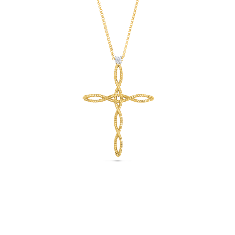 Roberto Coin 18Kt Gold Cross Pendant With Diamonds