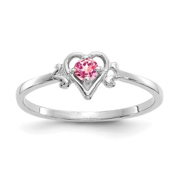 14K White Gold Pink Tourmaline Birthstone Heart Ring