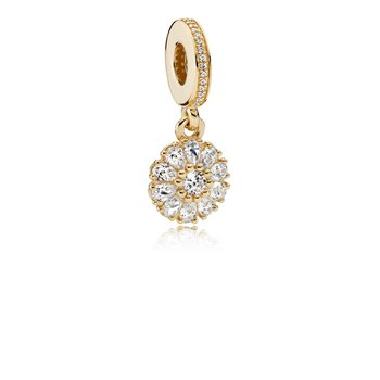 Embellished Floral Dangle Charm, 14K Gold Clear Cz