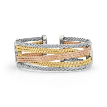 Yellow, Rose, & Grey Cable Petite Interlaced Bracelet