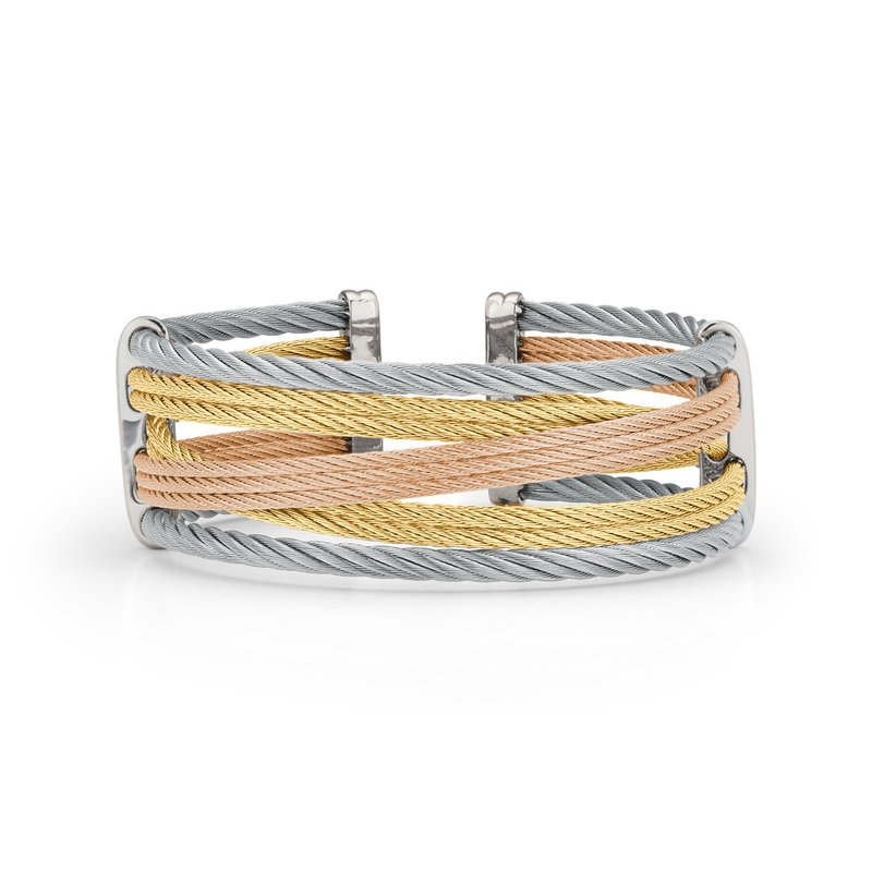 ALOR Yellow, Rose, & Grey Cable Petite Interlaced Bracelet