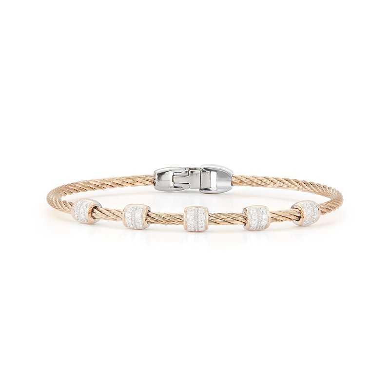 ALOR Carnation Cable Multi Station Stackable Bracelet with 18kt Rose Gold & Diamonds