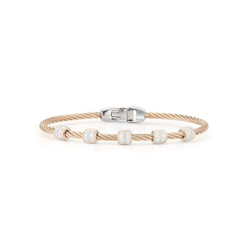 Carnation Cable Multi Station Stackable Bracelet with 18kt Rose Gold & Diamonds