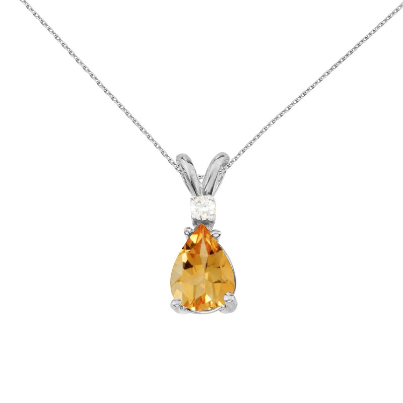 Color Merchants 14k White Gold Pear Shaped Citrine and Diamond Pendant
