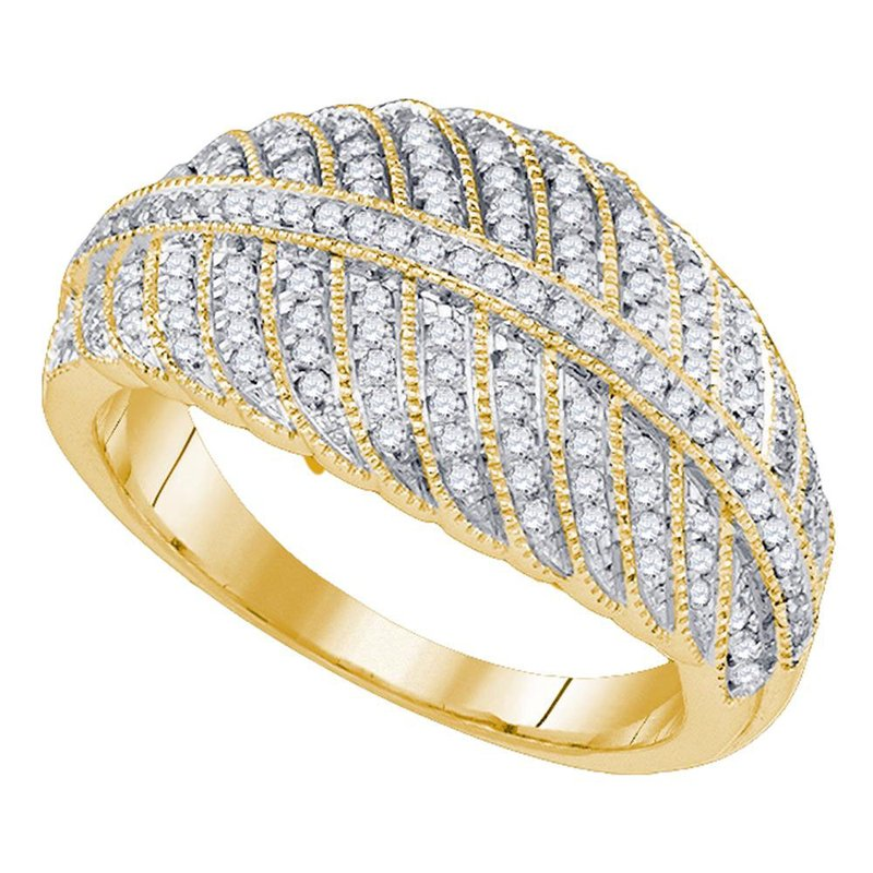 Kingdom Treasures 10kt Yellow Gold Womens Round Diamond Milgrain Striped Band Ring 3/8 Cttw