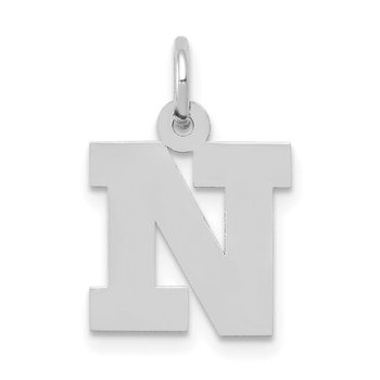 14KW Small Block Letter N Initial Charm