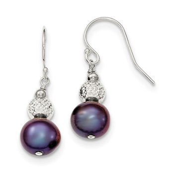 Sterling Silver Peacock FWCultured Pearl Drop Earrings