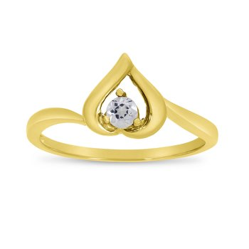 14k Yellow Gold Round White Topaz Heart Ring