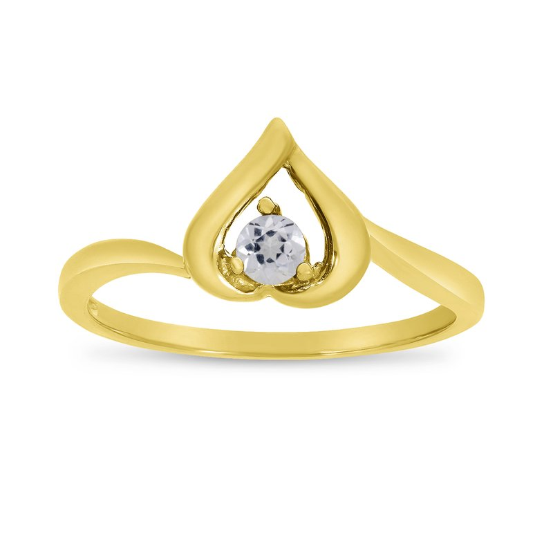 Color Merchants 14k Yellow Gold Round White Topaz Heart Ring