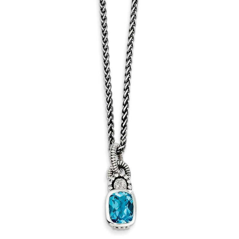 Shey Couture Sterling Silver Sky Blue Topaz & Diamond Necklace