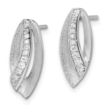 Sterling Silver Rhodium-plated Scratch Finish CZ Post Earrings