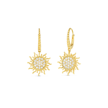 18Kt Gold Diamond Sun Earrings