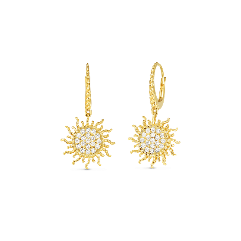 Roberto Coin 18Kt Gold Diamond Sun Earrings