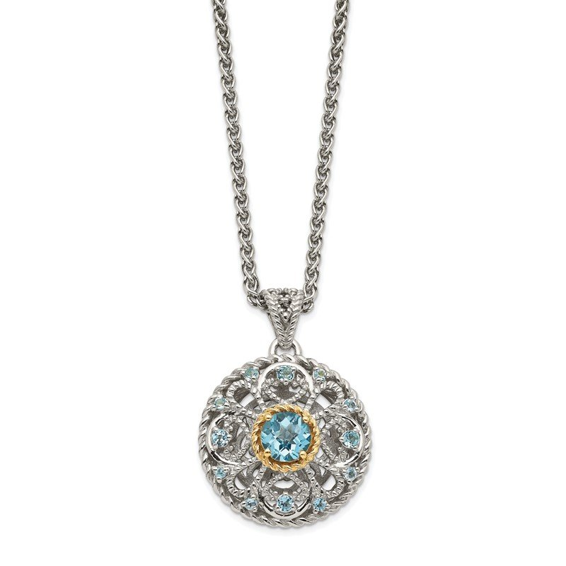 Quality Gold Sterling Silver w/ 14K Accent Light Swiss Blue Topaz Necklace