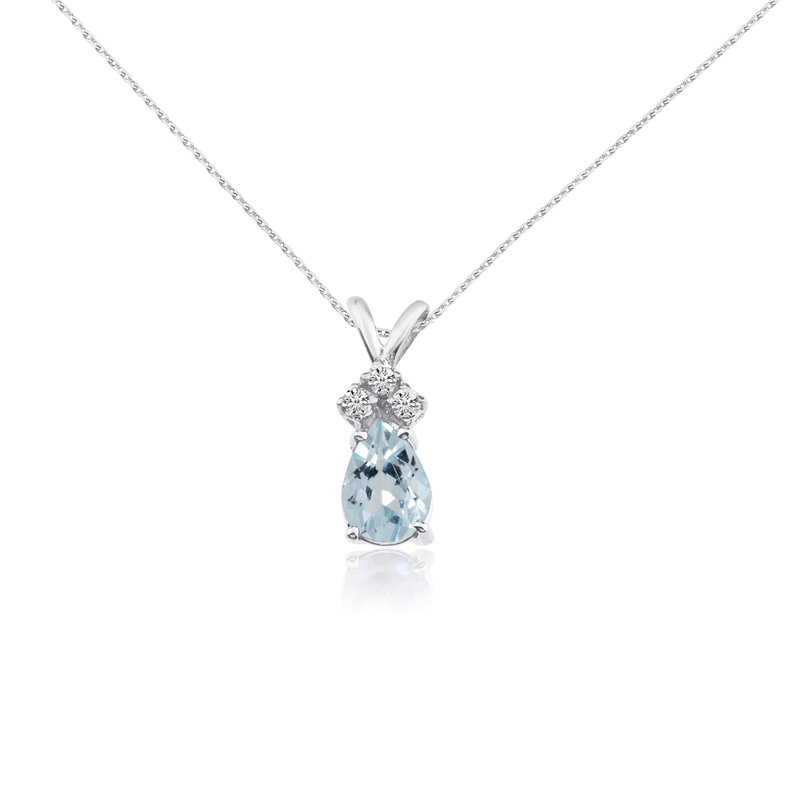 14k White Gold 7X5 Aquamarine Pear Pendant with Diamonds