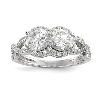 Sterling Silver Rhodium-plated CZ Two Stone Halo Ring