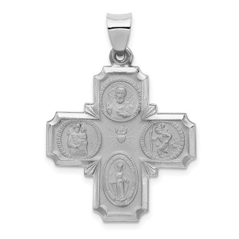 14k White Gold Four Way Medal Hollow Pendant