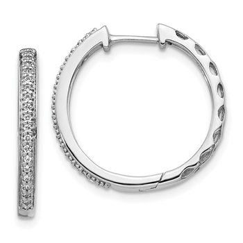 14k White Gold Diamond 2mm Hinged Hoop Earrings