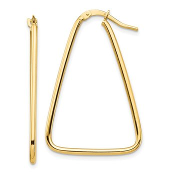 14k 1.5mm Polished Triangle Dangle Hoop Earrings