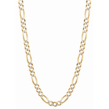 14K Gold 5.8mm White Pave Figaro Chain
