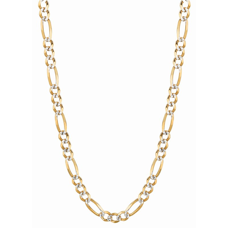 Royal Chain 14K Gold 5.8mm White Pave Figaro Chain