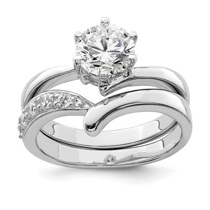 Quality Gold Sterling Silver Rhodium-plated 2-piece CZ Wedding Ring Set