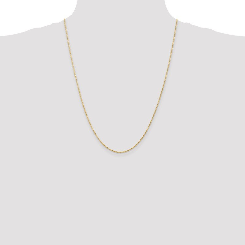 Quality Gold 14k 1.5mm Diamond-cut Extra-Light Rope Chain Anklet