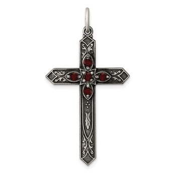 Sterling Silver January Birthstone Cross Pendant