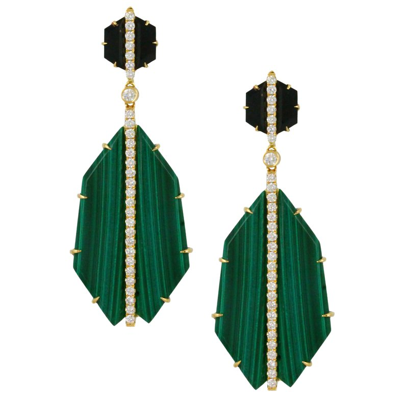 MAZZARESE Couture Verde Malachite & Onyx Dangle Earrings