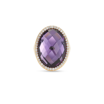 Ring With Diamonds And Amethyst