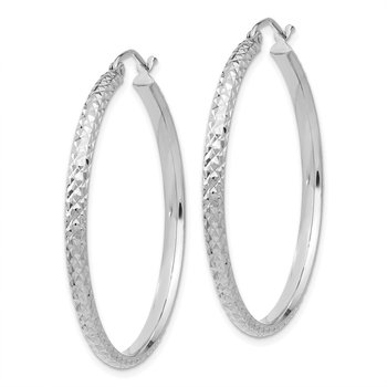 14K White Gold Diamond-cut 2.8x37mm Hollow Hoop Earrings