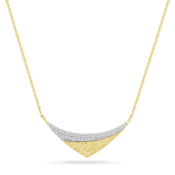 14K NECKLACE WITH 36 DIAMONDS 0.12CT HAMMERED FINISH 18 INCHES