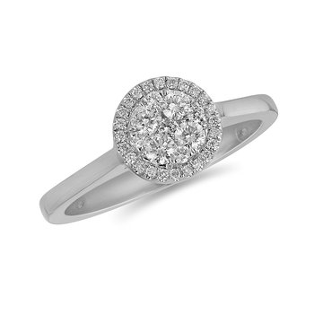14K WG and diamond Round Halo composite head and plain shank ring in pressure setting