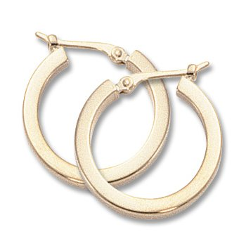 14kt Yel Square Tube Hoop Earrings