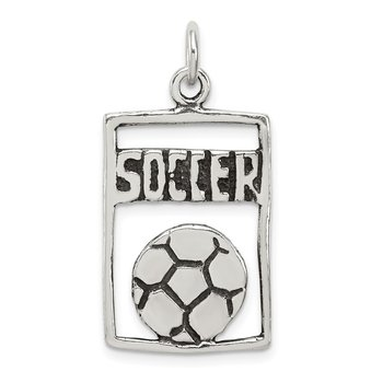 Sterling Silver Antiqued Soccer Rectangle Pendant