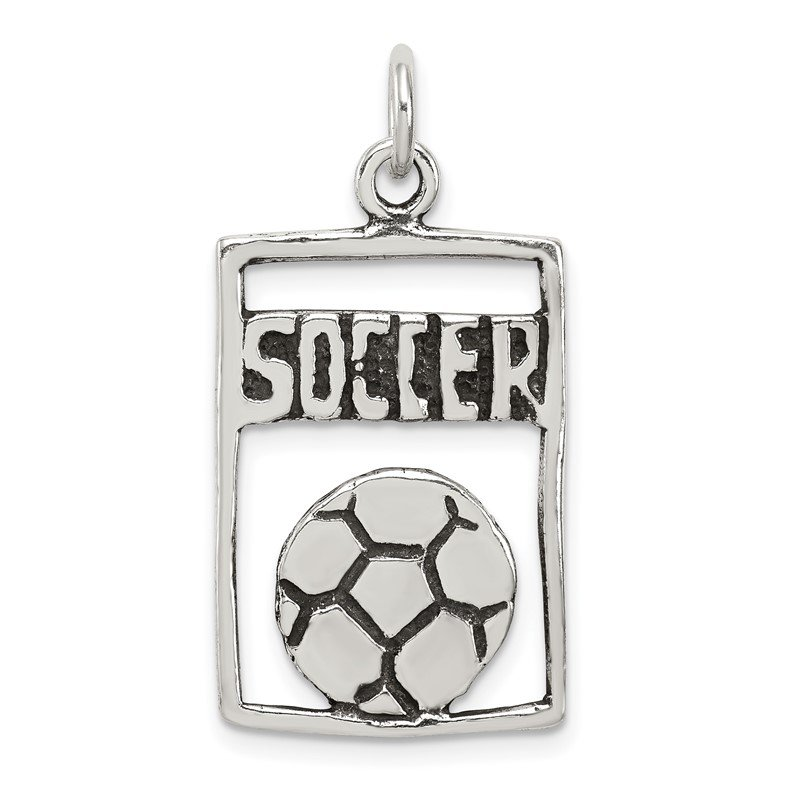 Quality Gold Sterling Silver Antiqued Soccer Rectangle Pendant