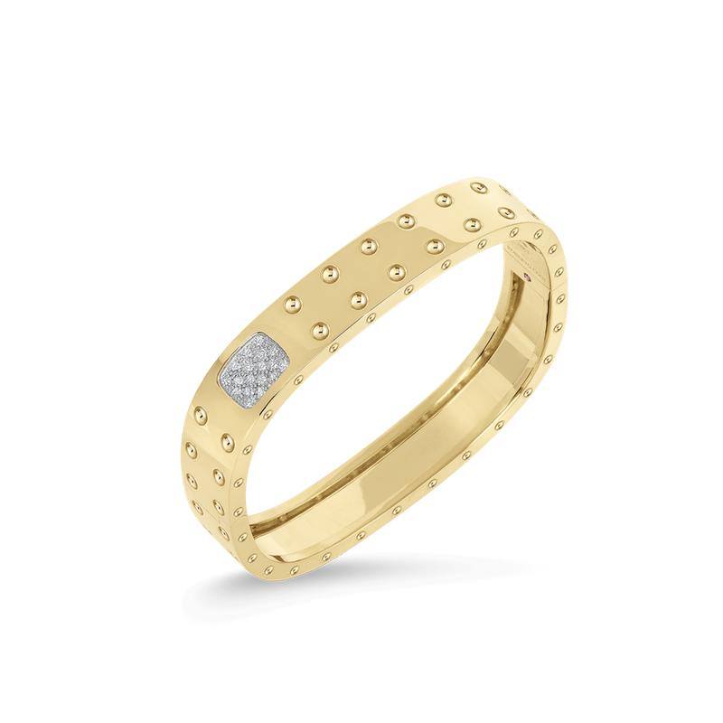 Roberto Coin 2 Row Square Bangle With Diamonds &Ndash; 18K Yellow Gold, M