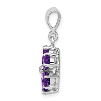 Sterling Silver Rhodium Amethyst & Diamond Flower Pendant