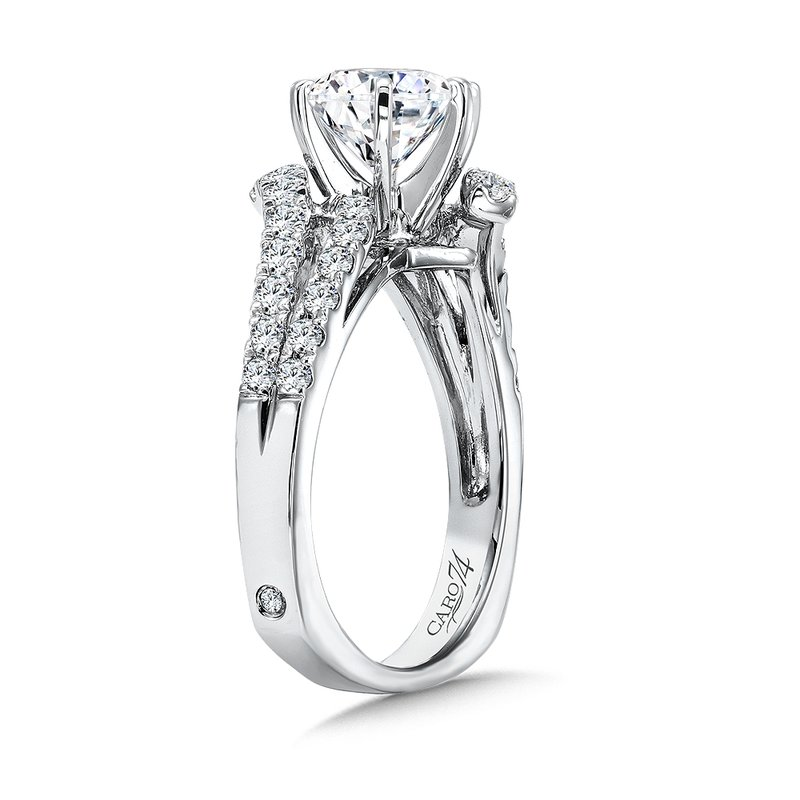 Caro74 Luxury Collection Criss Cross Diamond Engagement Ring in 14K White Gold  with Platinum Head (1-1/2 ct.)