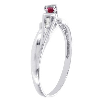 10k White Gold Ruby and Diamond Accent Promise Ring