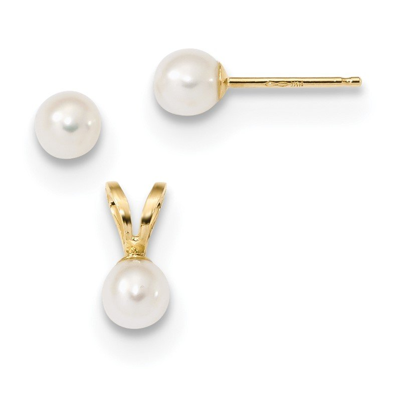 Quality Gold 14k Children's 4-5mm White FWC Pearl Pendant and Earring Set