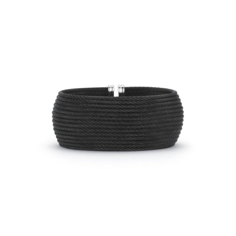 ALOR Black Cable Oversized Cuff with 18kt Yellow Gold